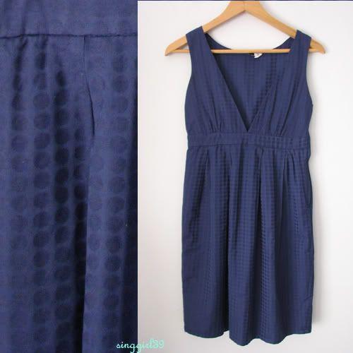 DIVIDED Retro Navy Blue Polka Dot Pattern Baby Doll Style Dress XS