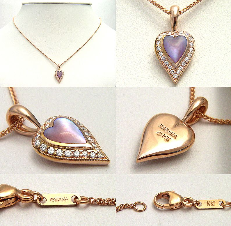 KABANA COLLECTION HEART PENDANT PINK PEARL DIAMOND 14K ROSE GOLD CHAIN