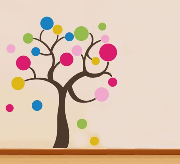 quality Polka Dot lucky Tree Baby kids deco mural Wall Paper Sticker