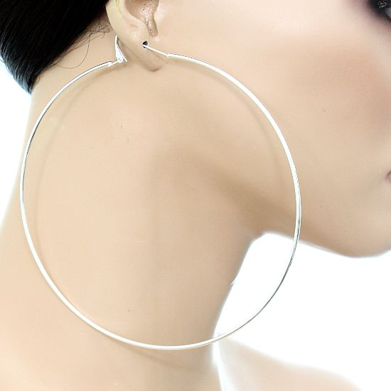 Silver Tone Extra Large Oversize Hoop Earrings