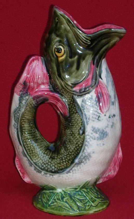 AUTHENTIC ANTIQUE FRENCH ONNAING MAJOLICA FISH PITCHER 1880 MINT