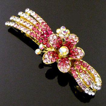 , 1pc rhinestone crystal flower hair barrette clip