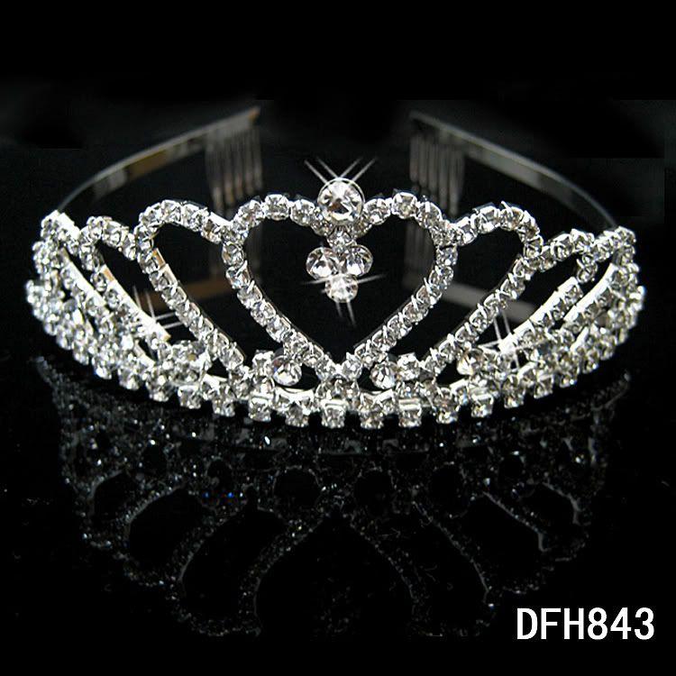 Wedding Bridal Bridesmaid Flower Girls crystal veil tiara crown