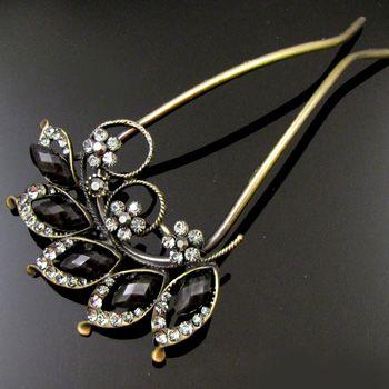 SHIPPING 1pc Austrian rhinestone crystal flower hair fork Fork