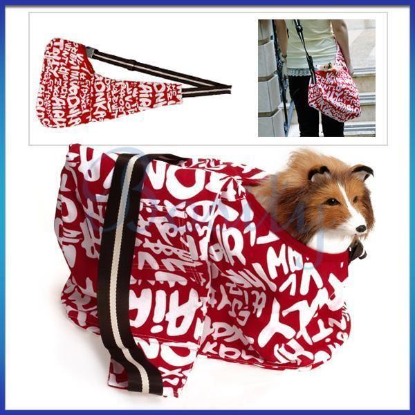 Red White Sling Pet Carrier Cat Dog Tote Single Shoulder Bag Oxford