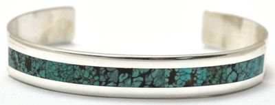Zuni Turquoise Sterling Silver Bracelet   Alvin Banteah