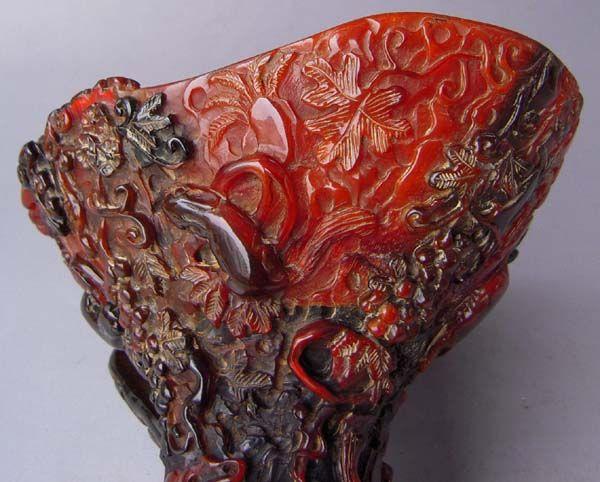 Old Tibet Tibetan Yak Horn Carved Pinaster Squirrel Wine Cup