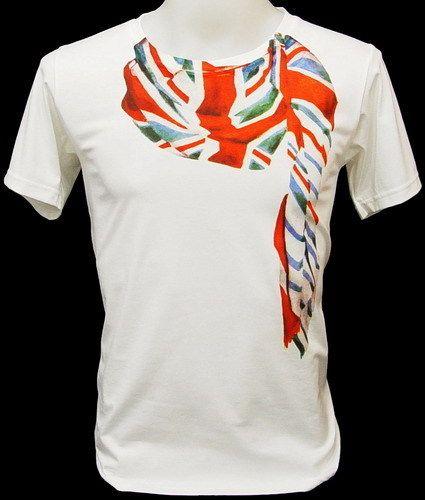 UK British Flag Union Jack Scarf Retro Punk T Shirt M